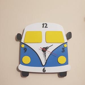 Kisbusz falióra, Otthon & Lakás, Dekoráció, Falióra & óra, Famegmunkálás, Kisbusz falióra\nAz ikonikus hippi kisbusz formájára megalkottuk ezt a bohókás faliórát.\n3mm-es fából..., Meska