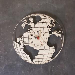 Földgömb falióra, Otthon & Lakás, Dekoráció, Falióra & óra, Famegmunkálás, Földgömb falióra \nEz a letisztult stílusú földgömböt formáló óra kiváló választás lehet az utazás sz..., Meska