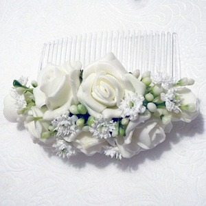 Menyasszonyi hajdísz, Esküvő, Hajdísz, ruhadísz, Virágkötés, Gyönyörű habrózsás hajdísz, menyasszonyoknak vagy szalagavatóra.   Személyes átvétel X. kerületben ..., Meska