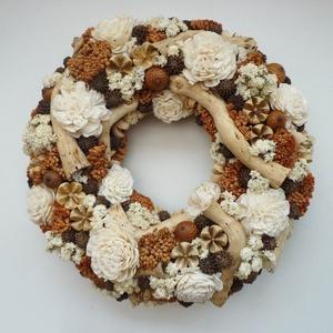Vintage ajtódísz koszorú, Otthon & lakás, Lakberendezés, Ajtódísz, kopogtató, Virágkötés, Vintage stílusú koszorú szárazvirágokból és termésekből, natúr és terracotta színben. Ajtódísz ( kop..., Meska