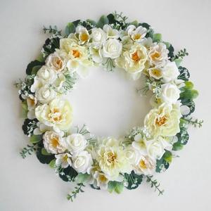 Romantikus rózsás koszorú ( fali dísz ), Otthon & lakás, Lakberendezés, Ajtódísz, kopogtató, Különleges romantikus koszorú selyemvirágokból pasztell színben, habrózsával és selyem pünkösdi rózs..., Meska