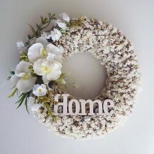 Fehér koszorú ajtódísz, Otthon & lakás, Lakberendezés, Ajtódísz, kopogtató, Fehér sóvirából készítettem, ezt az elegáns koszorút, kisebb fejdíszítés tettem rá selyemvirágból.  ..., Meska
