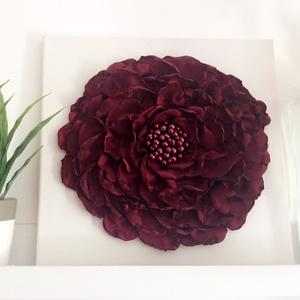 Óriás virág kép bordó rózsa, Otthon & lakás, Lakberendezés, Falikép, Képkeret, tükör, Virágkötés, Kb. 30x30cm-es fali dísz. Ezt az egyedi képet selyem anyagból készített bordó szirmokból raktam ki, ..., Meska