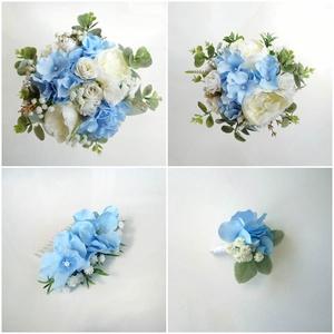 Kék hortenziás esküvői szett, Esküvő, Esküvői csokor, Hajdísz, ruhadísz, Elegáns esküvői szett, kék selyem hortenziából, fehér rezgőből, rózsából  és eukaliptuszból. A csoma..., Meska
