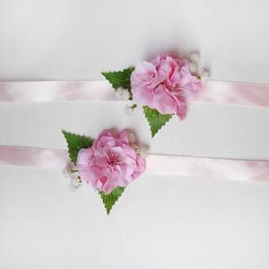 2db-os koszorúslány csuklódísz csomag, Esküvő, Hajdísz, ruhadísz, Vidám rózsaszín csuklódísz vagy kardísz csomag rózsaszín selyemvirágból. Koszorúslányoknak, vagy női..., Meska