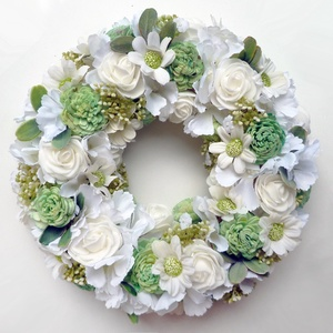 Menta és fehér rózsás margarétás koszorú, Otthon & lakás, Lakberendezés, Ajtódísz, kopogtató, Romantikus ajtódísz koszorú habrózsákból, ming rózsából  selyem hortenziából és margarétából. Ajtódí..., Meska