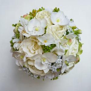 Menyasszonyi örök csokor orchideás, Esküvő, Esküvői csokor, Minőségi, selyemvirágokból készítettem ezt a hortenziás orchideás rózsacsokrot. A gömb esküvői csoko..., Meska