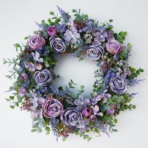 Levendulás rózsás vintage ajtódísz, Otthon & lakás, Lakberendezés, Koszorú, Falikép, Különleges lila vintage stílusú ajtódísz vagy fali dísz. Selyemvirágokból (eukaliptusz, levendula, r..., Meska