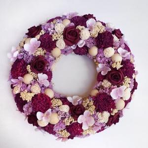 Bordó rózsás koszorú, Otthon & lakás, Lakberendezés, Ajtódísz, kopogtató, Ajtódísz koszorú szárazvirágokból, habrózsákból, mingrózsából és termésekből. Kopogtató vagy falidís..., Meska