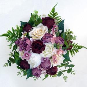 Őszi menyasszonyi örökcsokor , Esküvő, Esküvői csokor, Minőségi, élethű alapanyagból - eukaliptuszból, bordó, krém és mályva színű rózsából és bazsarózsábó..., Meska