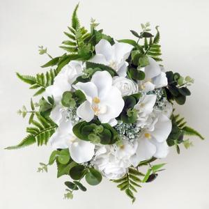 Orchideás greenery menyasszonyi örökcsokor , Esküvő, Esküvői csokor, Selyem orchideából, rózsából és hortenziából késztettem ezt az egyedi  a menyasszonyi örökcsokrot. E..., Meska