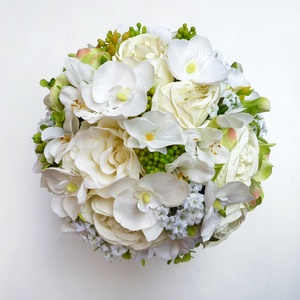 Menyasszonyi örökcsokor orchidea rózsa, Menyasszonyi- és dobócsokor, Esküvő, Virágkötés, Minőségi, selyemvirágokból készítettem ezt a hortenziás orchideás rózsacsokrot. A gömb esküvői csoko..., Meska