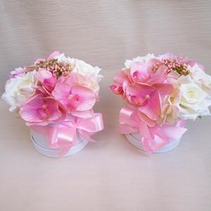 Rózsaszín orchideás virág doboz, Esküvő, Emlék & Ajándék, Szülőköszöntő ajándék, Virágkötés, Gyönyörű selyemvirágból készült virágdobozok, szülőköszöntőnek, szülinapra vagy évfordulóra. Rózsasz..., Meska