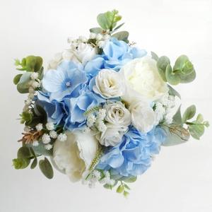Kék hortenziás menyasszonyi csokor, Esküvő, Esküvői csokor, Hajdísz, ruhadísz, Virágkötés, Elegáns esküvői örökcsokor, kék selyem hortenziából, fehér rezgőből, rózsából  és eukaliptuszból. M..., Meska