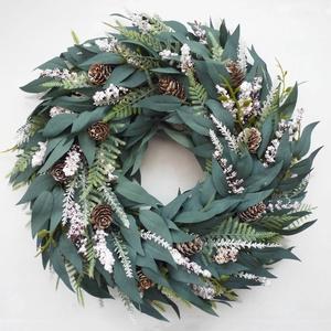 Havas téli eukaliptusz kopogtató ajtódísz 2., Karácsony & Mikulás, Karácsonyi kopogtató, Virágkötés,  ***A termékek személyesen a X. kerületben vehetők át, December 24-ig. Illetve Dec. 28.-31-ig. *** \n..., Meska