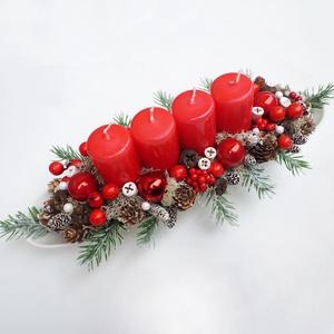 Adventi tál piros gyertyákkal , Karácsony & Mikulás, Adventi koszorú, 36 cm hosszúkás fehér tálba készült adventi asztaldísz, műfenyővel és termésekkel. * Átvétel: személ..., Meska
