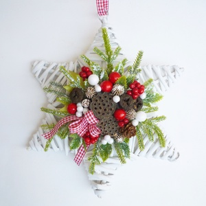 Csillag alakú ajtódísz ablakdísz fehér, Karácsony & Mikulás, Karácsonyi kopogtató, Fonott csillagra készült ünnepi dísz, ajtóra vagy ablakba.  kb. 25-26 cm * Átvétel: személyesen X. k..., Meska