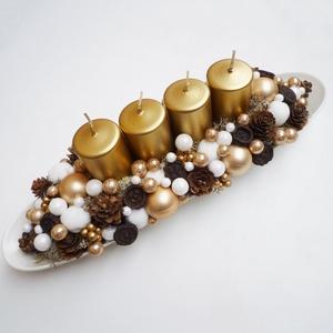 Adventi tál arany színben, Karácsony & Mikulás, Adventi koszorú, Kb. 35cm hosszú kompozíció, hosszúkás fehér tálba készült adventi asztaldísz, óarany, fehér  gömbökk..., Meska