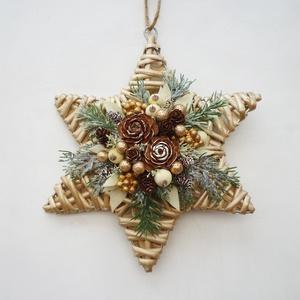 Csillag alakú ajtódísz abakdísz, Karácsony & Mikulás, Karácsonyi kopogtató, Fonott csillagra készült ünnepi dísz, ajtóra vagy ablakba.  kb. 25-26 cm * Átvétel: személyesen X. k..., Meska