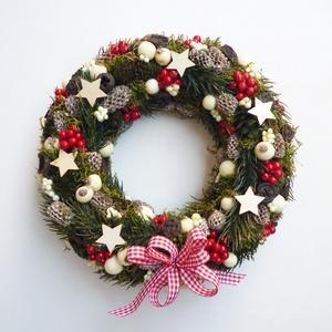 Karácsonyi ajtódísz kockás masnival, Karácsony, Karácsonyi lakásdekoráció, Karácsonyi ajtódíszek, Virágkötés, Meska