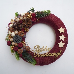 Bordó karácsonyi ajtódísz, Karácsony & Mikulás, Virágkötés,  ***A termékek személyesen a X. kerületben vehetők át, December 24-ig. Illetve Dec. 28.-31-ig. *** \n..., Meska