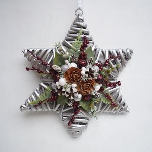 Csillag alakú ajtódísz ablakdísz bordó ezüst, Karácsony & Mikulás, Karácsonyi kopogtató, Virágkötés,  ***A termékek személyesen a X. kerületben vehetők át, December 24-ig. Illetve Dec. 28.-31-ig. *** \n..., Meska