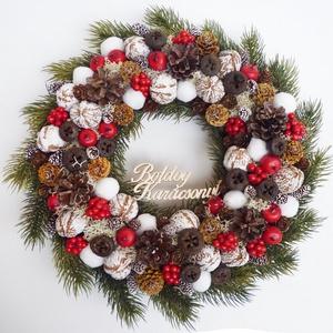 Karácsonyi kopogtató műfenyővel és piros bogyóval, Karácsony & Mikulás, Karácsonyi kopogtató, Virágkötés,  ***A termékek személyesen a X. kerületben vehetők át, December 24-ig. Illetve Dec. 28.-31-ig. *** \n..., Meska