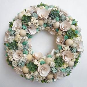 Türkiz terméses koszorú ajtódísz, Otthon & Lakás, Dekoráció, Ajtódísz & Kopogtató, Virágkötés, Ajtódísz koszorú száraz virágokból, zuzmóból, és termésekből és mű kövirózsákból. Ajtódísz ( kopogta..., Meska