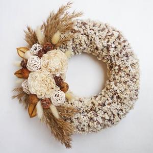 Bohém natúr terméses koszorú díszfűvel, Otthon & Lakás, Dekoráció, Ajtódísz & Kopogtató, Virágkötés, Ajtódísz koszorú száraz virágokból, ming rózsából díszfűből és termésekből. Ajtódísz ( kopogtató ) v..., Meska