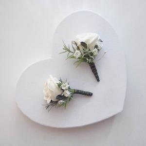 2db-os kitűző szett, Esküvő, Kiegészítők, Gomblyukdísz, Virágkötés, Habrózsából levelekkel és mű rezgővel készült esküvői kitűző csomag, 2db-os.\n* Átvétel: személyesen ..., Meska