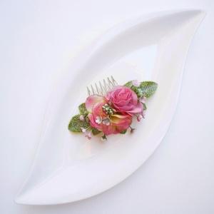 Rózsaszín rózsás menyasszonyi hajdísz, Esküvő, Fésűs hajdísz, Hajdísz, Virágkötés, Meska