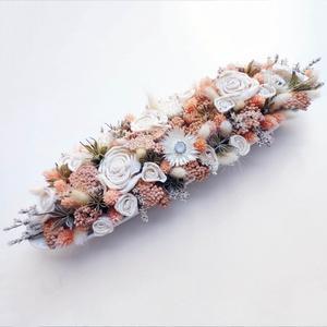 Púder szárazvirágos asztaldísz , Otthon & Lakás, Dekoráció, Asztaldísz, Virágkötés, Fehér hosszúkás porcelán tálba készítettem ezt a romantikus púder színű száraz virágokból és ming ró..., Meska