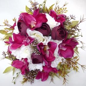 Nagy orchideás menyasszonyi örökcsokor , Esküvő, Menyasszonyi- és dobócsokor, Virágkötés, Meska