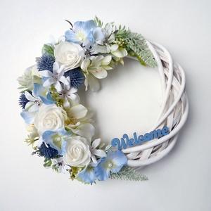 'Welcome' ajtódísz kék hortenziával, Otthon & Lakás, Dekoráció, Ajtódísz & Kopogtató, Virágkötés, Meska