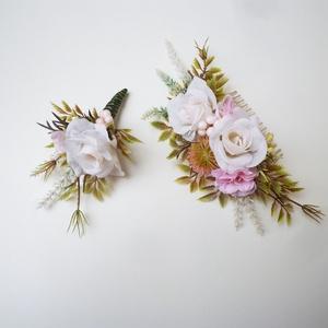 Vintage selyemvirág esküvői szett - Meska.hu