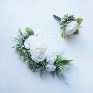 Esküvői selyemvirág szett kitűző és hajdísz fehér, Esküvő, Kiegészítők, Kitűző, Virágkötés, Esküvői stílusú selyemvirág szett. Kitűző alapra és kontyfésű alapra készítettem.\nVőlegény kitűző kb..., Meska