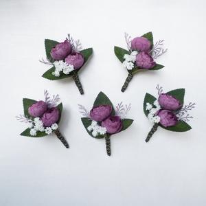5 db-os mályva esküvői kitűző csomag, Esküvő, Kiegészítők, Virágkötés, Meska