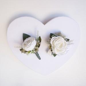 Esküvői selyemvirág szett kitűző és kardísz fehér, Esküvő, Kitűző, Kiegészítők, Virágkötés, Meska