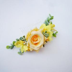 Sárga rózsás menyasszonyi hajdísz eukaliptusszal, Esküvő, Hajdísz, Fésűs hajdísz, Virágkötés, Meska
