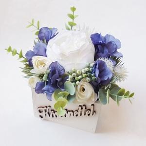 Selyemvirágos szülőköszöntő doboz, Esküvő, Emlék & Ajándék, Szülőköszöntő ajándék, Virágkötés, Meska