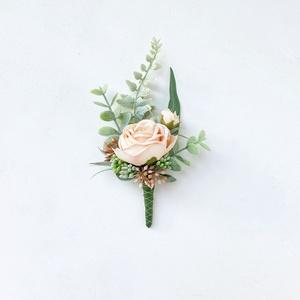 Vőlegény kitűző eukaliptusszal, Esküvő, Kiegészítők, Virágkötés, Meska