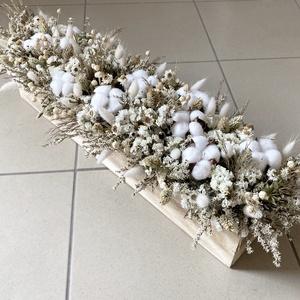 Natúr gyapotvirágos asztaldísz szárított virágokkal, Otthon & Lakás, Dekoráció, Asztaldísz, Virágkötés, Meska