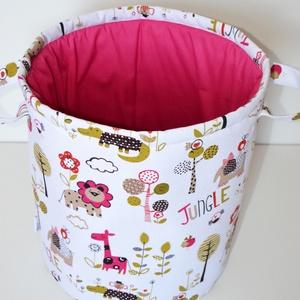 Rózsaszín szafaris játéktároló, Játéktároló, Tárolás & Rendszerezés, Otthon & Lakás, Varrás, Egyedi tervezésű gyermek játéktároló.\nHasznos segítség a gyermekek játékainak tárolására, és egyben ..., Meska