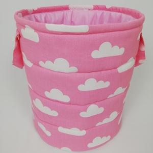 Felhő mintás rózsaszín játéktároló, Játéktároló, Tárolás & Rendszerezés, Otthon & Lakás, Varrás, Egyedi tervezésű gyermek játéktároló.\nHasznos segítség a gyermekek játékainak tárolására, és egyben ..., Meska