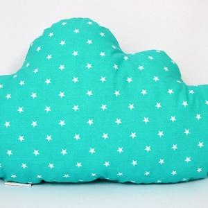 Menta - fehér csillagos felhőpárna, Gyerek & játék, Gyerekszoba, Játék, Varrás, Egyedi tervezésű felhő formapárna. \nKiváló dekoráció gyermekszobába. \nAnyaga: mindkét oldala pamut ö..., Meska