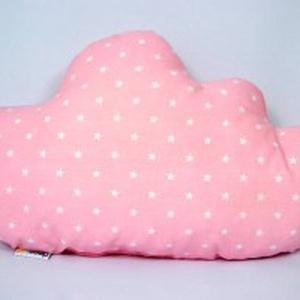 Rózsaszín - fehér csillagos felhőpárna, Gyerek & játék, Gyerekszoba, Játék, Varrás, Egyedi tervezésű felhő formapárna.  Kiváló dekoráció gyermekszobába.  Anyaga: mindkét oldala pamut ..., Meska