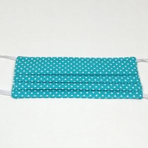 Türkiz pöttyös gyerek 2 rétegű pamut szájmaszk, Táska, Divat & Szépség, Szépség(ápolás), Egészségmegőrzés, Maszk, szájmaszk, Varrás, Igényesen elkészített, 2 rétegű, 100% pamut öko-textilből készült, gumis rögzítésű szájmaszk. \nKb. 5..., Meska