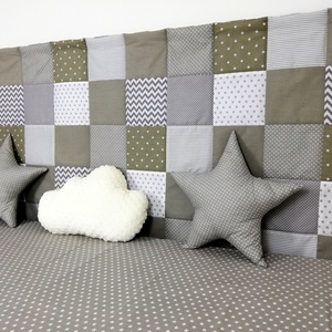 Szürke patchwork falvédő (decokid) - Meska.hu