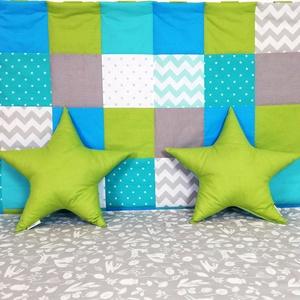 Türkiz-zöld patchwork falvédő, Falvédő, Lakástextil, Otthon & Lakás, Varrás, Egyedi tervezésű patchwork falvédő.\nEgyedibbé, vidámabbá és egyben komfortosabbá teszi a gyerekágy h..., Meska