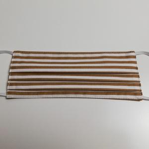 Bézs csíkos 2 rétegű pamut szájmaszk, Férfi & Uniszex, Maszk, Arcmaszk, Varrás, Igényesen elkészített, 2 rétegű, 100% pamut öko-textilből készült, gumis rögzítésű szájmaszk. \nA mas..., Meska